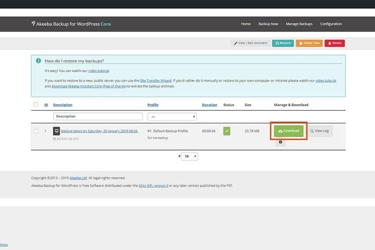 Akeeba Backup para WordPress descargar respaldo