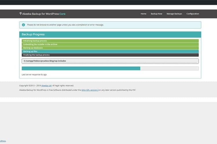 Akeeba Backup para WordPress progreso de respaldo