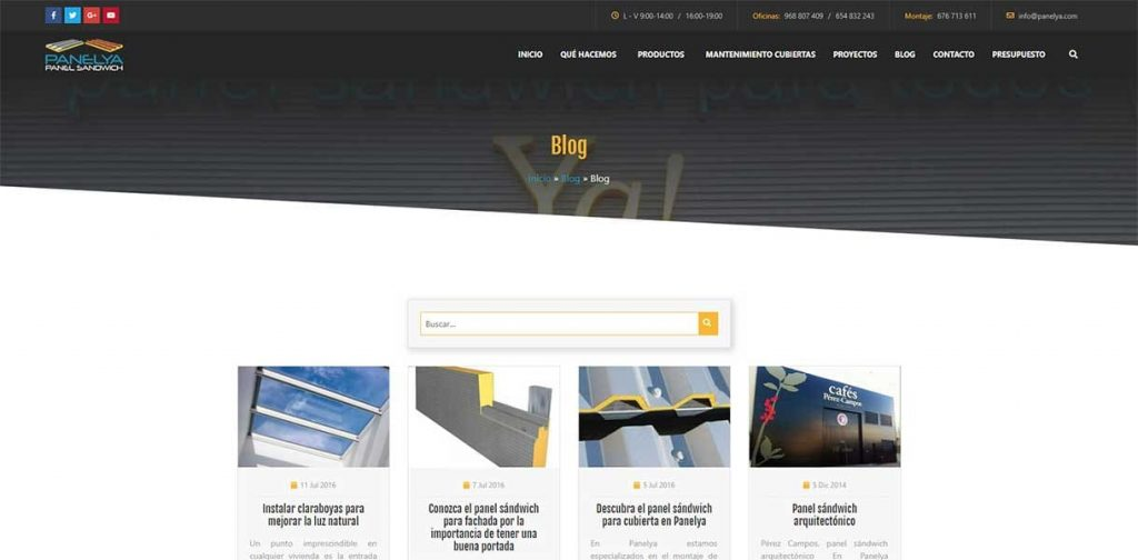Diseño página web Panelya: Blog