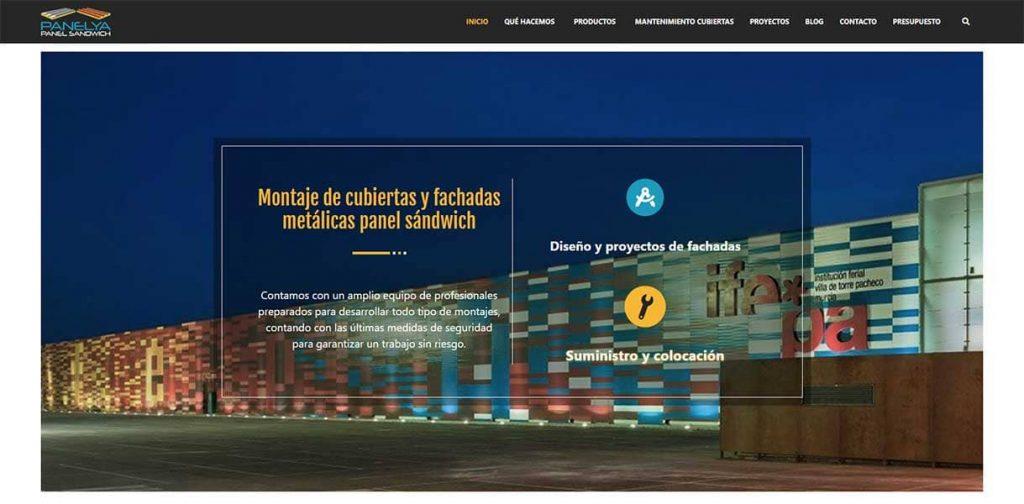 Diseño página web Panelya: Inicio