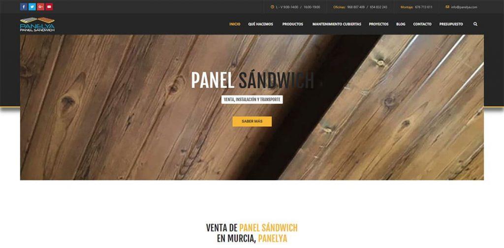 Diseño página web Panelya: Portada