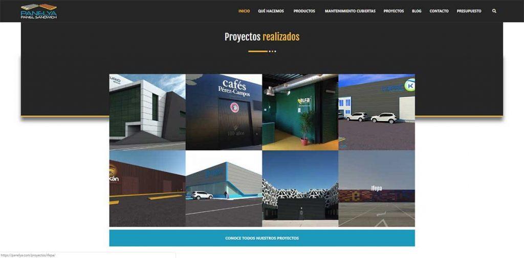 Diseño página web Panelya: Portafolio