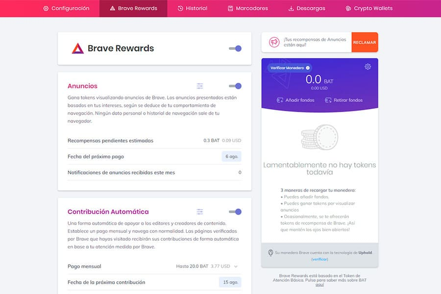 Recompensas usuario Brave