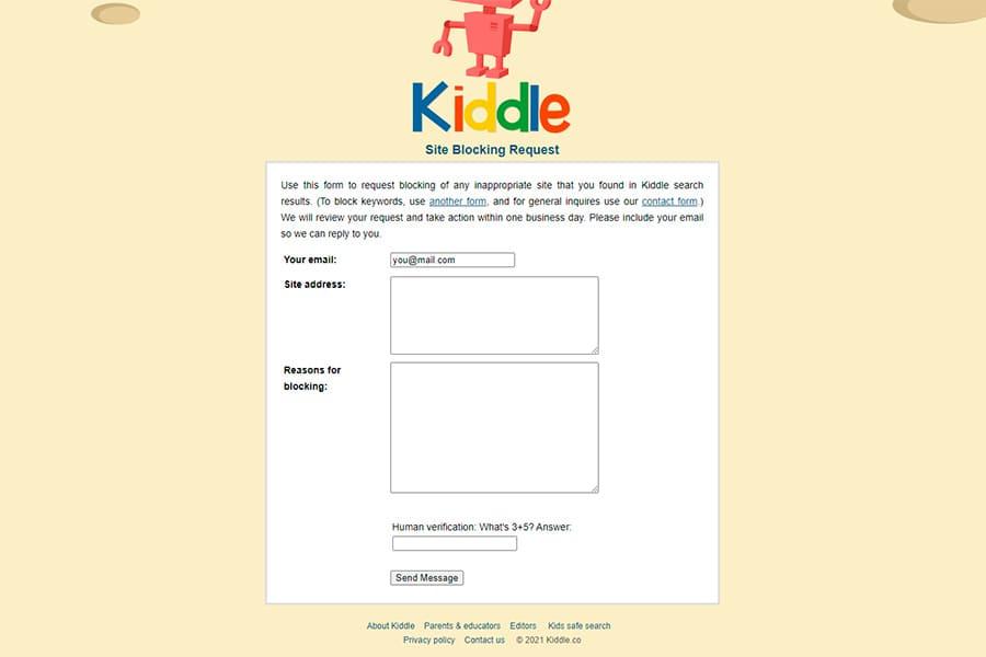 Formulario de solicitud de bloqueo de sitios en Kiddle