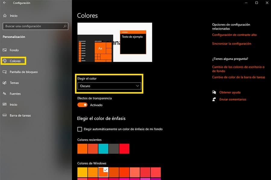 Escoger color para fondo en Windows 10