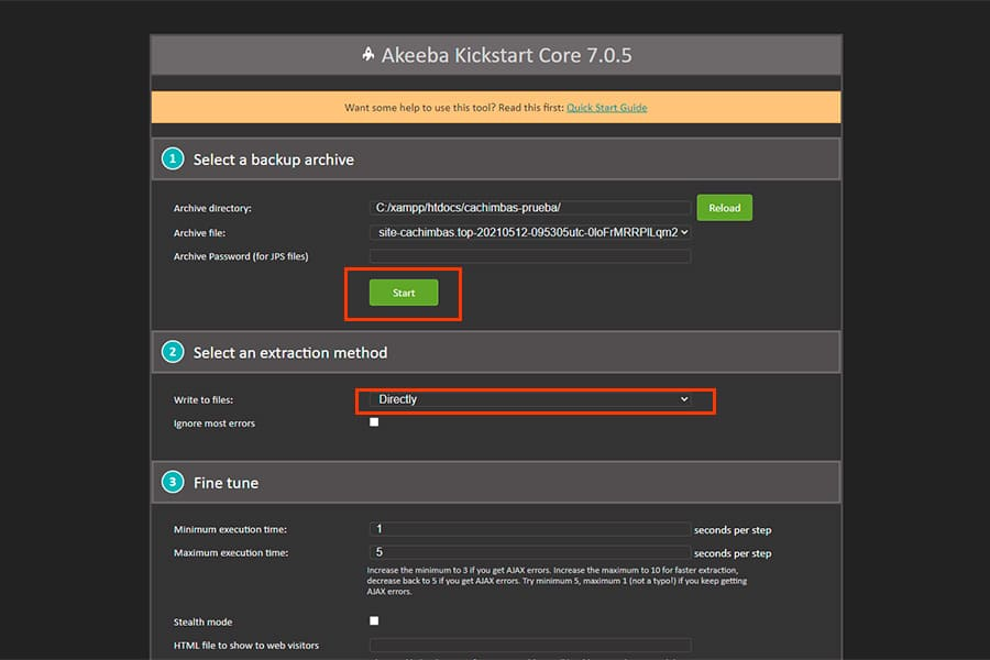 Botón start de Akeeba Backup