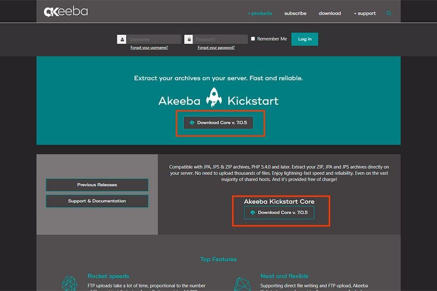 Descargar Kickstart para Akeeba Backup