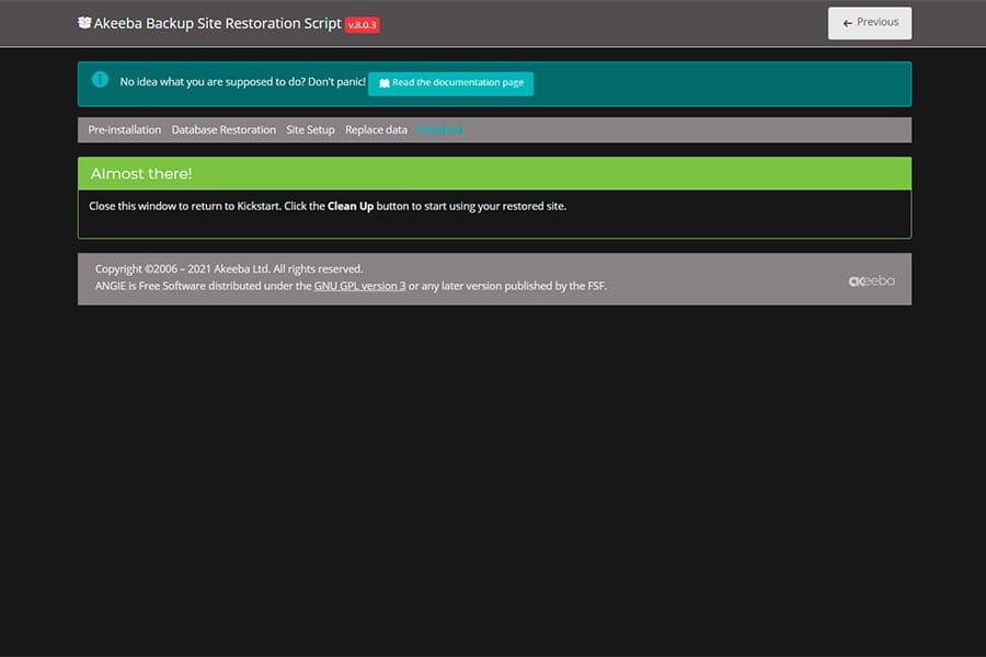 Finalización de restauración sitio web con Akeeba Backup